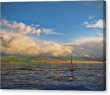 Sailing On Galilee Canvas Print by Dave Luebbert