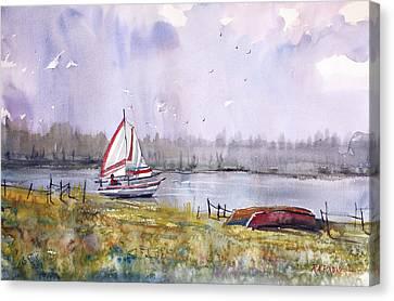 Sailing On White Sand Lake Canvas Print by Ryan Radke