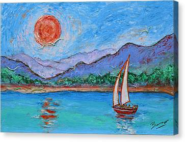 Sailing Red Sun Canvas Print by Xueling Zou