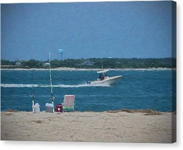 Boating Through Bogue Inlet Canvas Print by Sandi OReilly