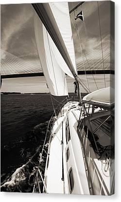 Sailing Under The Arthur Ravenel Jr. Bridge In Charleston Sc Canvas Print by Dustin K Ryan