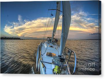 Sailing Yacht And Tropical Storm Ana Outflow  Canvas Print by Dustin K Ryan