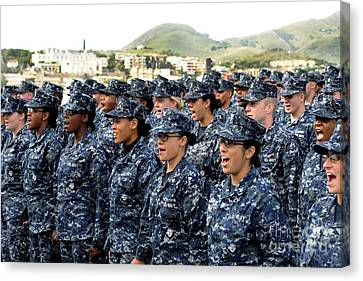Sailors Yell Before An All-hands Call Canvas Print by Stocktrek Images