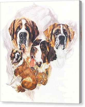 Saint Bernard With Ghost Image Canvas Print by Barbara Keith