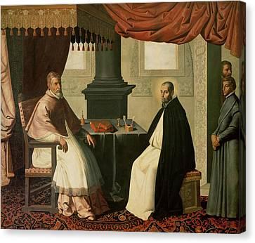 Saint Bruno And Pope Urban II Canvas Print by Francisco de Zurbaran