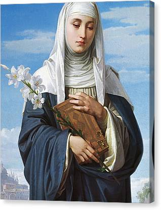 Saint Catherine Of Siena Canvas Print by Alessandro Franchi