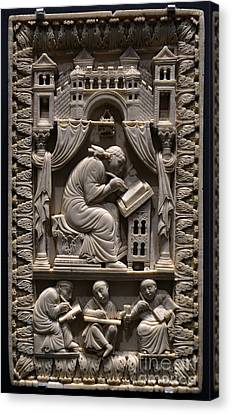 Saint Gregory The Great With Scribes Canvas Print by Science Source