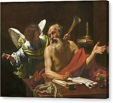 Saint Jerome And The Angel Canvas Print by Simon Vouet