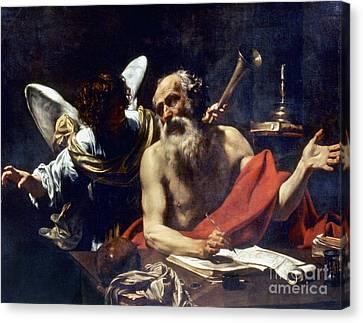 Saint Jerome & The Angel Canvas Print by Granger