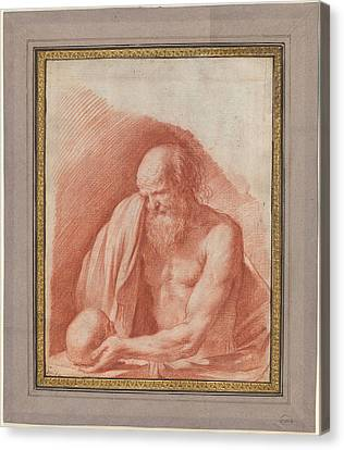 Saint Jerome Weeping Over A Skull Canvas Print by MotionAge Designs