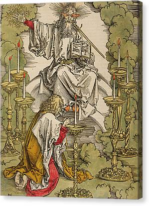 Saint John On The Island Of Patmos Receives Inspiration From God To Create The Apocalypse Canvas Print by Albrecht Durer or Duerer