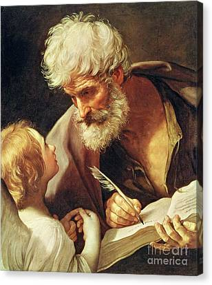 Male Angel Canvas Print featuring the painting Saint Matthew by Guido Reni