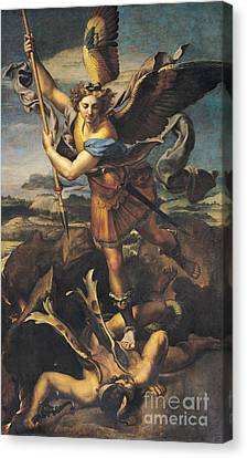 Saint Michael Overwhelming The Demon Canvas Print by Raphael