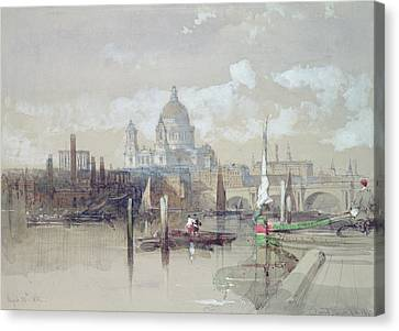 Saint Pauls From The River Canvas Print by David Roberts