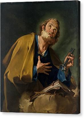 Saint Peter Canvas Print by Giovanni Battista Pittoni