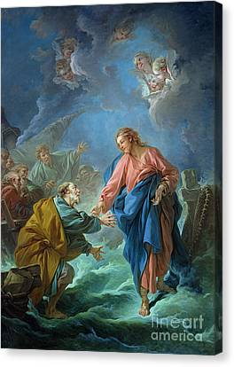 Saint Peter Invited To Walk On The Water Canvas Print by Francois Boucher
