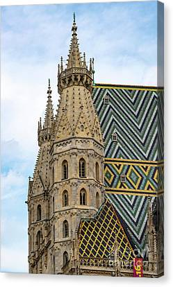 Saint Stephens Spires And Tiled Roof Canvas Print by Bob Phillips