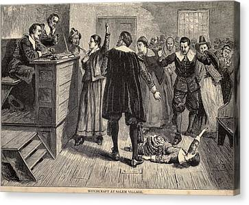Salem Witch Trials. A Women Protests Canvas Print by Everett