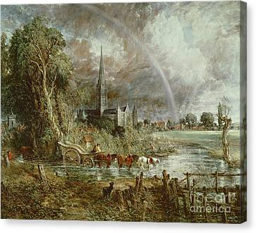 Salisbury Cathedral From The Meadows Canvas Print by John Constable