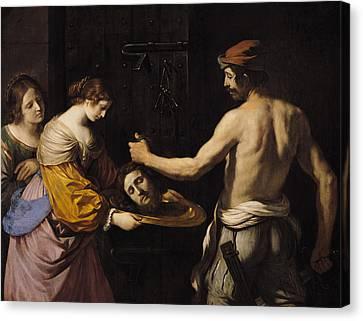 Salome Receiving The Head Of St John The Baptist Canvas Print by Giovanni Francesco Barbieri