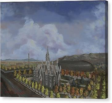 Salt Lake City Temple Square Nineteen Twelve Left Panel Canvas Print by Jeff Brimley