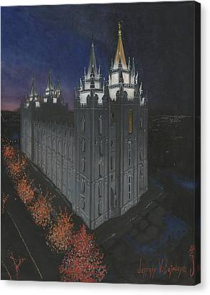 Salt Lake Temple Christmas Canvas Print by Jeff Brimley
