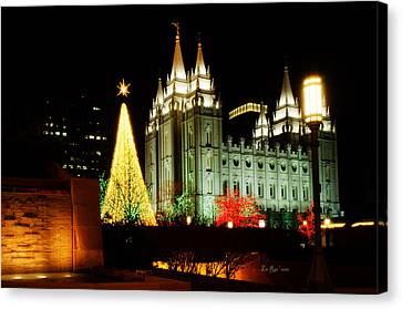 Salt Lake Temple Christmas Tree Canvas Print by La Rae  Roberts
