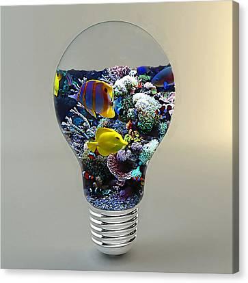 Saltwater Aquarium Light Bulb Canvas Print by Marvin Blaine