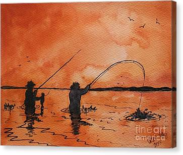 Saltwater Wade Fishing Canvas Print by Don Hand