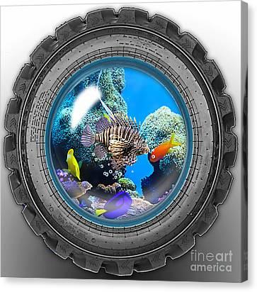 Saltwater Tire Aquarium Canvas Print by Marvin Blaine