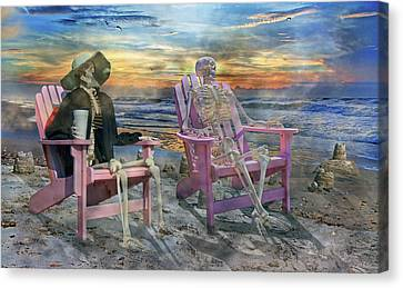 Sam Shares Tales With An Old Friends Canvas Print by Betsy Knapp