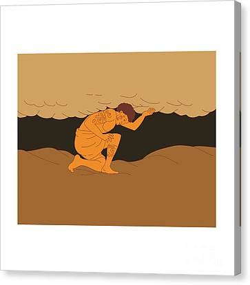 Samoan Atlas Holding Sky From Earth Drawing Canvas Print by Aloysius Patrimonio