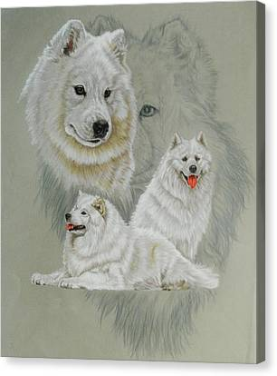 Samoyed With Ghost Canvas Print by Barbara Keith
