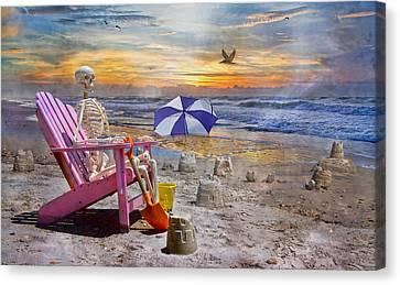 Sam's  Sandcastles Canvas Print by Betsy Knapp