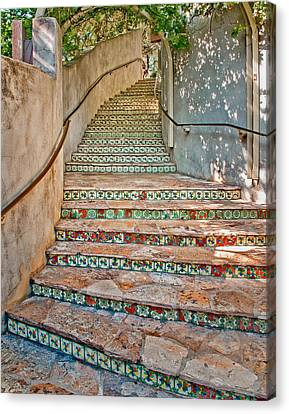 San Antonio Riverwalk Stairway Canvas Print by David and Carol Kelly