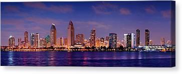 San Diego Skyline At Dusk Canvas Print by Jon Holiday