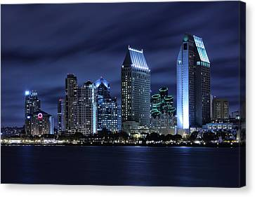 San Diego Skyline At Night Canvas Print by Larry Marshall