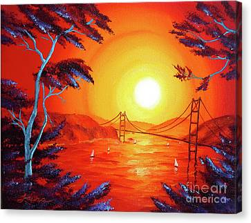 San Francisco Bay In Bright Sunset Canvas Print by Laura Iverson