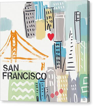 San Francisco Cityscape- Art By Linda Woods Canvas Print by Linda Woods