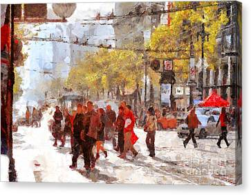 San Francisco Market Street . 40d3701 Canvas Print by Wingsdomain Art and Photography