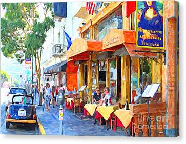 San Francisco North Beach Outdoor Dining Canvas Print by Wingsdomain Art and Photography