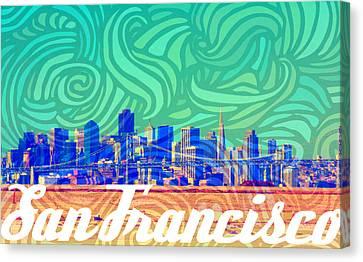 San Francisco Postales Canvas Print by Michelle Dallocchio