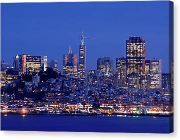 San Francisco Skyline At Dusk Canvas Print by David Rout