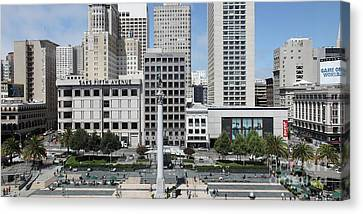 San Francisco Union Square 5d17938 Panoramic Canvas Print by Wingsdomain Art and Photography