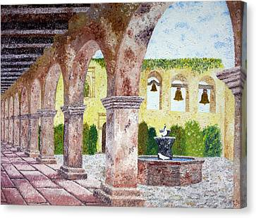 San Juan Capistrano Courtyard Canvas Print by Laura Iverson