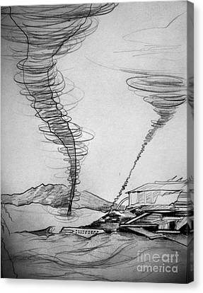 Sand Storm And Old Laboratory Canvas Print by Sofia Goldberg
