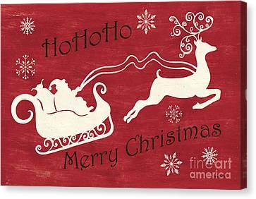 Santa And Reindeer Sleigh Canvas Print by Debbie DeWitt
