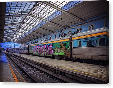 Santa Apolonia Train Station Lisbon Canvas Print by Carol Japp