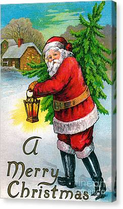 Santa Carrying A Christmas Tree Canvas Print by American School