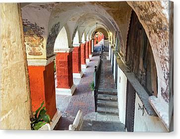 Santa Catalina Monastery Corridor Canvas Print by Jess Kraft